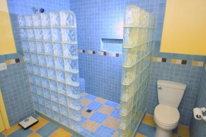 Glass Block wall and tile shower