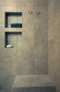 Tile shower with Recessed Shelves and Bench
