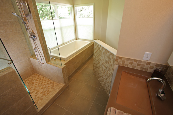 Full View of Tiled Master Bathroom