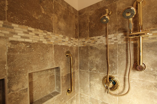 master shower with porcelain tile and brass finishes - Master Showers